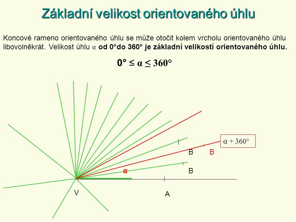 Základní velikost orientovaného úhlu Koncové rameno orientovaného úhlu se může otočit kolem vrcholu orientovaného úhlu libovolněkrát.