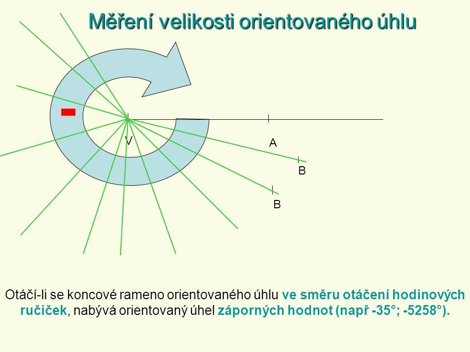 Základní velikost orientovaného úhlu Výpočet základní velikosti orientovaného úhlu a)Odečtením celých otáček koncového ramene orientovaného úhlu 400° = (400 – 360)° = 40° ; 750° = (750 – 2 · 360)° = 30° 400° 360° b) Odečtením celých otáček koncového ramene orientovaného úhlu dělením velikosti úhlu 360 a výsledkem je zbytek celočíselného dělení.