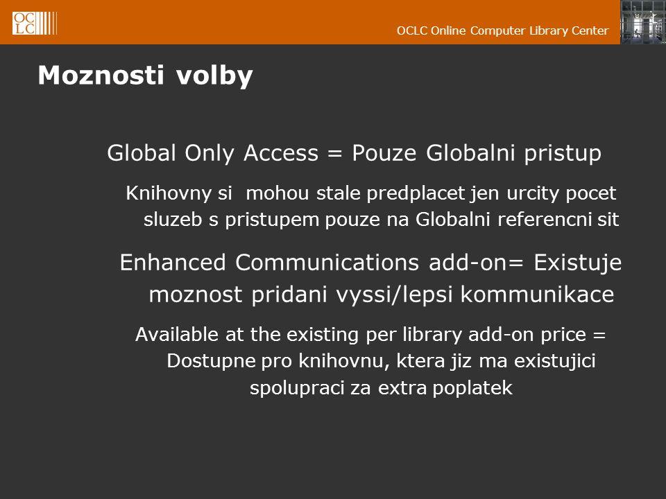 OCLC Online Computer Library Center Moznosti volby Global Only Access = Pouze Globalni pristup Knihovny si mohou stale predplacet jen urcity pocet sluzeb s pristupem pouze na Globalni referencni sit Enhanced Communications add-on= Existuje moznost pridani vyssi/lepsi kommunikace Available at the existing per library add-on price = Dostupne pro knihovnu, ktera jiz ma existujici spolupraci za extra poplatek