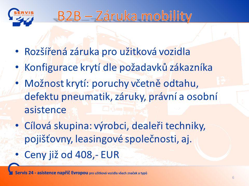 5 Vhodné řešení pro malé a střední dopravce Veškerá pomoc řidiči v nesnázích na jednom telefonním čísle vždy v češtině Fixní ceny standardních služeb Minimalizace administrativy při zadávání zakázky Možnost sledování zásahu online