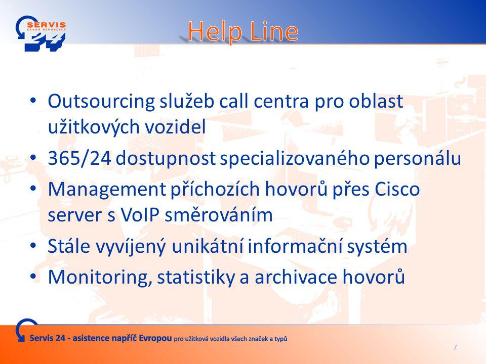 Outsourcing služeb call centra pro oblast užitkových vozidel 365/24 dostupnost specializovaného personálu Management příchozích hovorů přes Cisco server s VoIP směrováním Stále vyvíjený unikátní informační systém Monitoring, statistiky a archivace hovorů 7