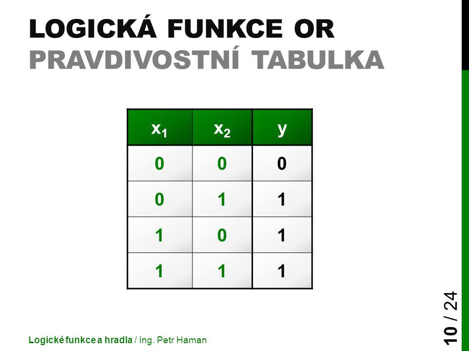 LOGICKÁ FUNKCE OR PRAVDIVOSTNÍ TABULKA Logické funkce a hradla / Ing. Petr Haman 10 / 24 x1x1 x2x2 y 000 011 101 111