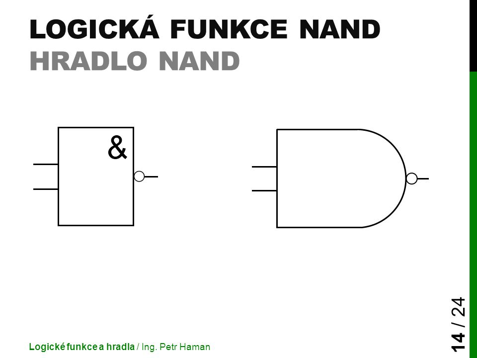 LOGICKÁ FUNKCE NAND HRADLO NAND Logické funkce a hradla / Ing. Petr Haman 14 / 24