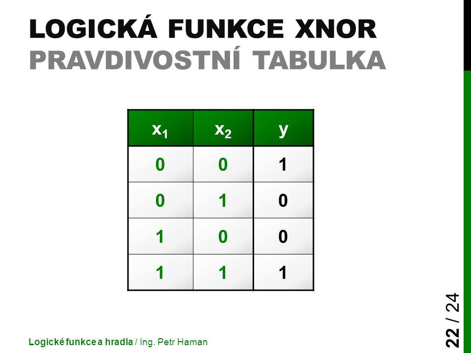 LOGICKÁ FUNKCE XNOR PRAVDIVOSTNÍ TABULKA Logické funkce a hradla / Ing. Petr Haman 22 / 24 x1x1 x2x2 y 001 010 100 111