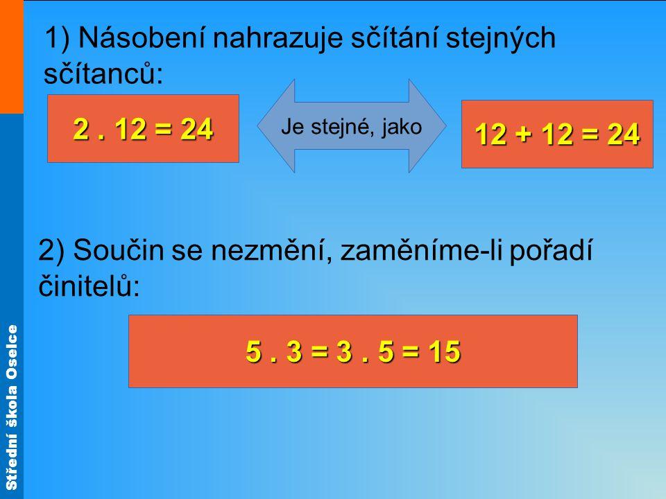 Střední škola Oselce 2. 12 = 24 1) Násobení nahrazuje sčítání stejných sčítanců: 2) Součin se nezmění, zaměníme-li pořadí činitelů: Je stejné, jako 12