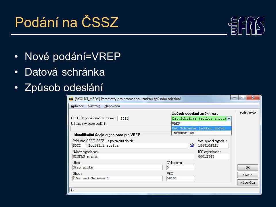 Nové podání=VREP Datová schránka Způsob odeslání