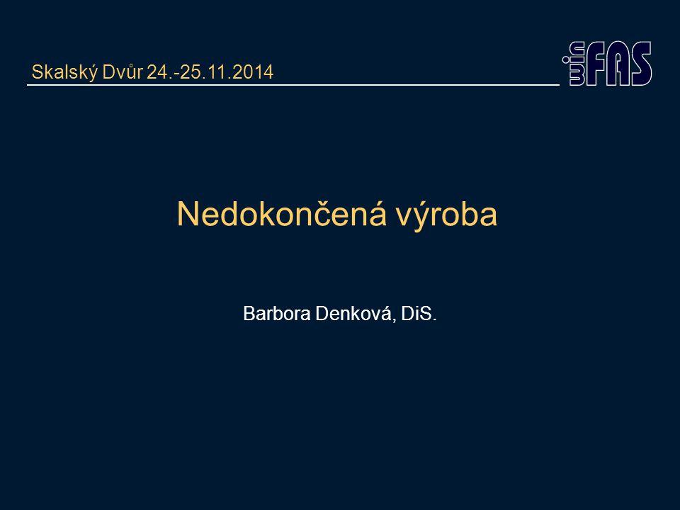 Nedokončená výroba Barbora Denková, DiS. Skalský Dvůr 24.-25.11.2014
