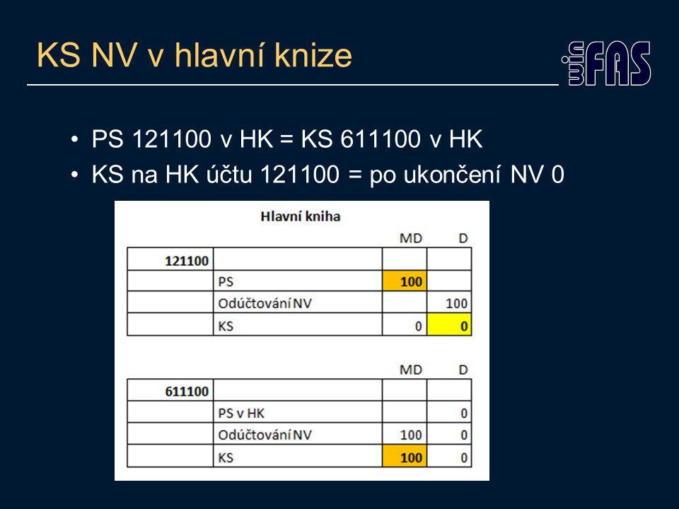 KS NV v hlavní knize PS 121100 v HK = KS 611100 v HK KS na HK účtu 121100 = po ukončení NV 0