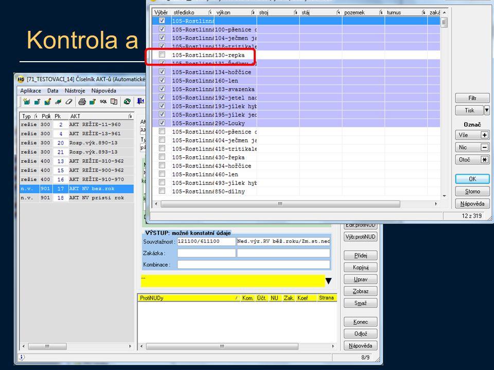 Kontrola a úprava výpočtu NV
