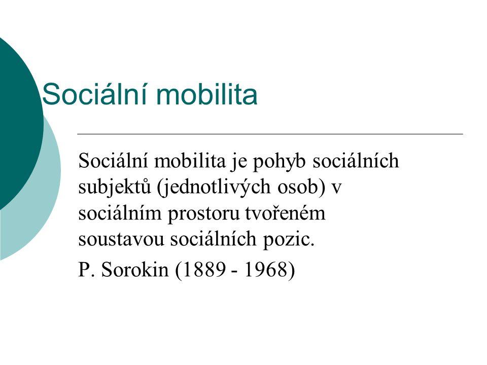 Sociální mobilita Sociální mobilita je pohyb sociálních subjektů (jednotlivých osob) v sociálním prostoru tvořeném soustavou sociálních pozic. P. Soro