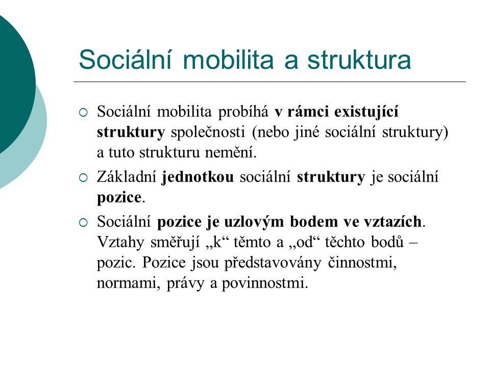 Sociální mobilita a struktura  Sociální mobilita probíhá v rámci existující struktury společnosti (nebo jiné sociální struktury) a tuto strukturu nem