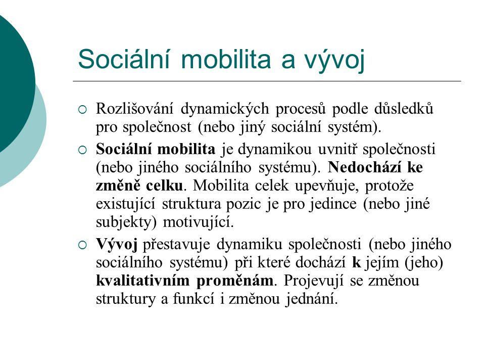 Sociální mobilita a vývoj  Rozlišování dynamických procesů podle důsledků pro společnost (nebo jiný sociální systém).  Sociální mobilita je dynamiko