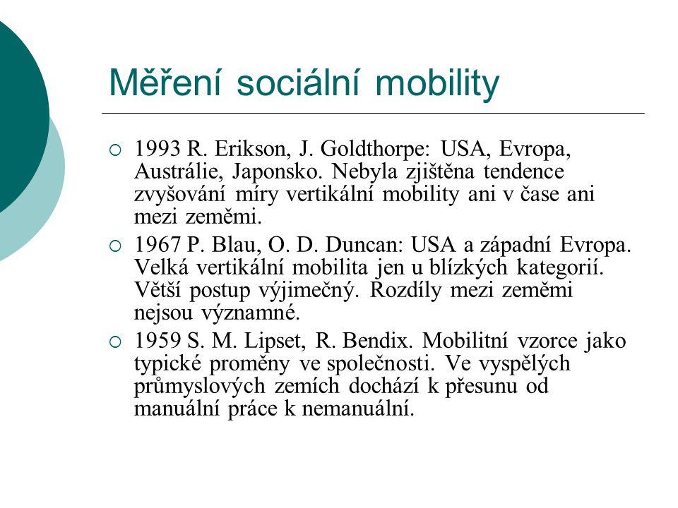 Měření sociální mobility  1993 R. Erikson, J. Goldthorpe: USA, Evropa, Austrálie, Japonsko. Nebyla zjištěna tendence zvyšování míry vertikální mobili