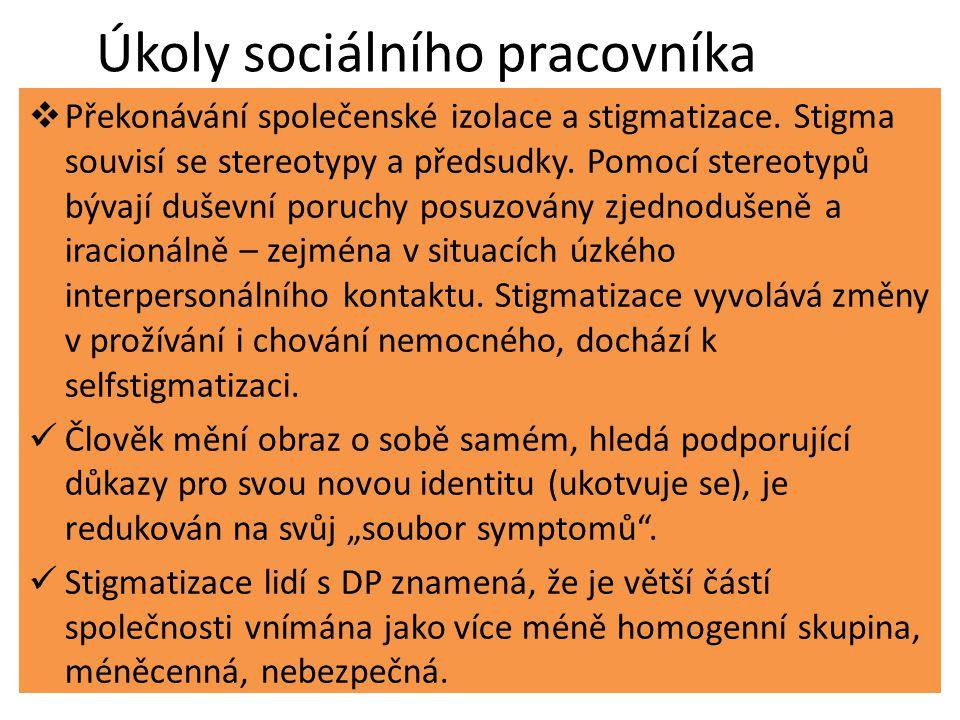 Úkoly sociálního pracovníka  Překonávání společenské izolace a stigmatizace.