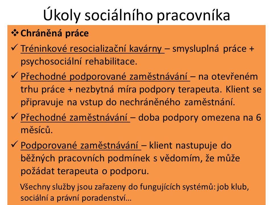 Úkoly sociálního pracovníka  Chráněná práce Tréninkové resocializační kavárny – smysluplná práce + psychosociální rehabilitace.