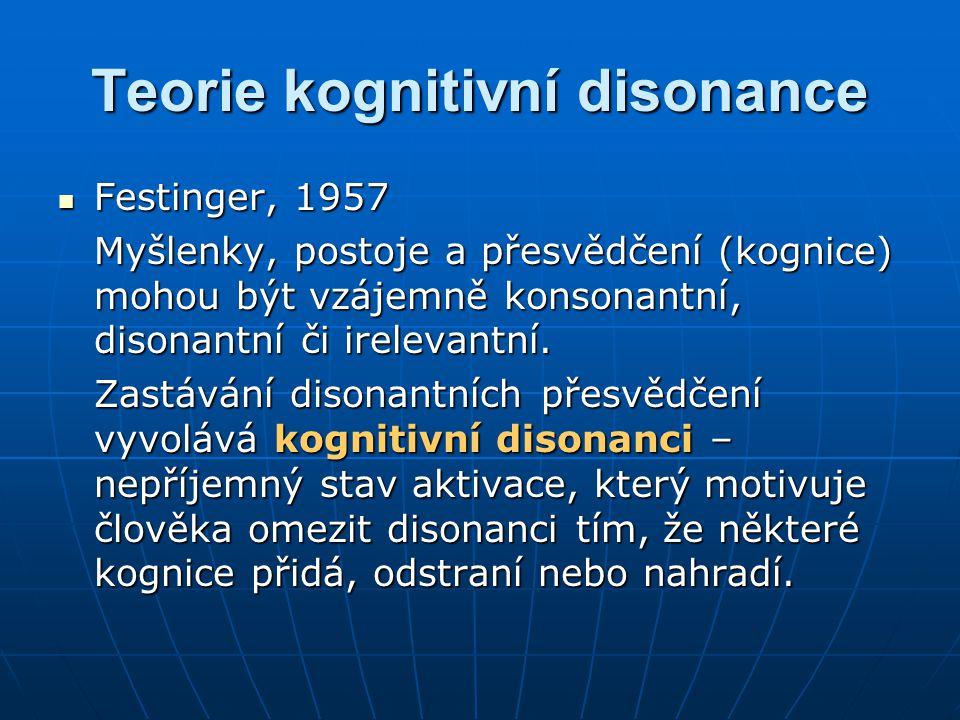 Teorie kognitivní disonance Festinger, 1957 Festinger, 1957 Myšlenky, postoje a přesvědčení (kognice) mohou být vzájemně konsonantní, disonantní či ir