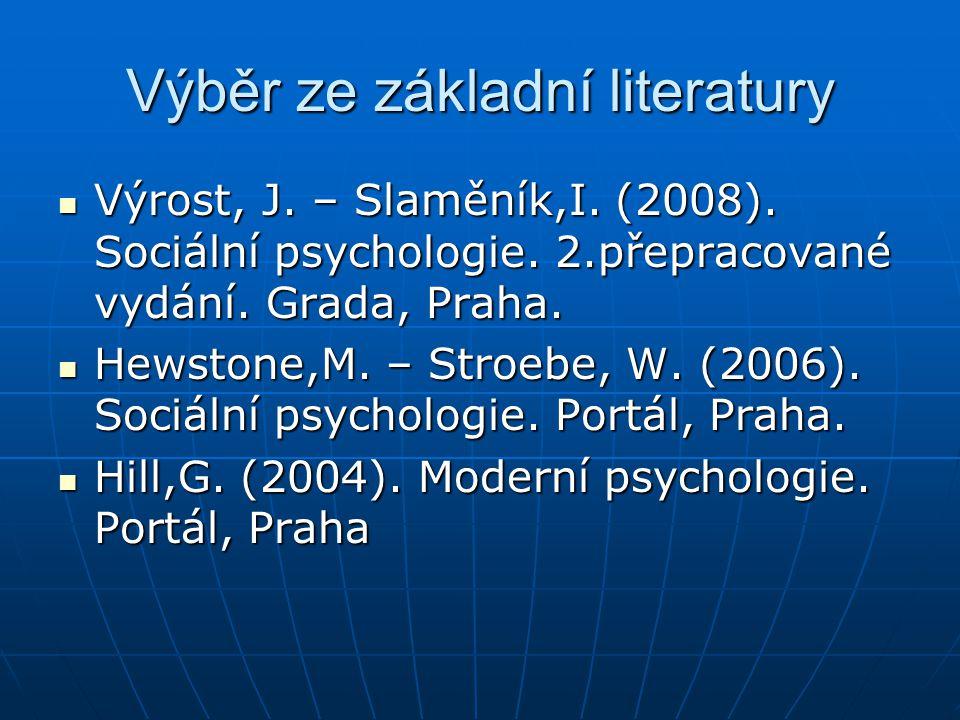 Výběr ze základní literatury Výrost, J. – Slaměník,I. (2008). Sociální psychologie. 2.přepracované vydání. Grada, Praha. Výrost, J. – Slaměník,I. (200