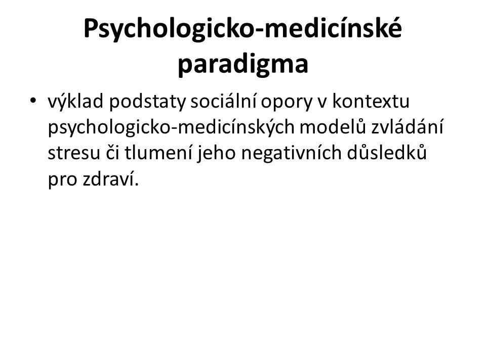 Psychologicko-medicínské paradigma výklad podstaty sociální opory v kontextu psychologicko-medicínských modelů zvládání stresu či tlumení jeho negativních důsledků pro zdraví.