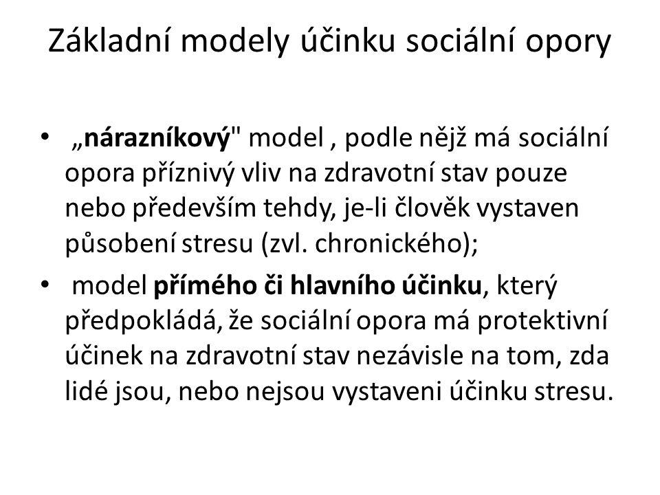 """Základní modely účinku sociální opory """"nárazníkový model, podle nějž má sociální opora příznivý vliv na zdravotní stav pouze nebo především tehdy, je-li člověk vystaven působení stresu (zvl."""