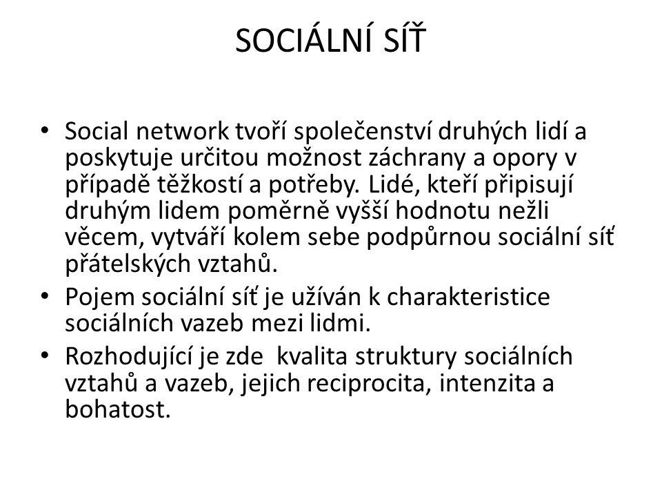 SOCIÁLNÍ SÍŤ Social network tvoří společenství druhých lidí a poskytuje určitou možnost záchrany a opory v případě těžkostí a potřeby. Lidé, kteří při