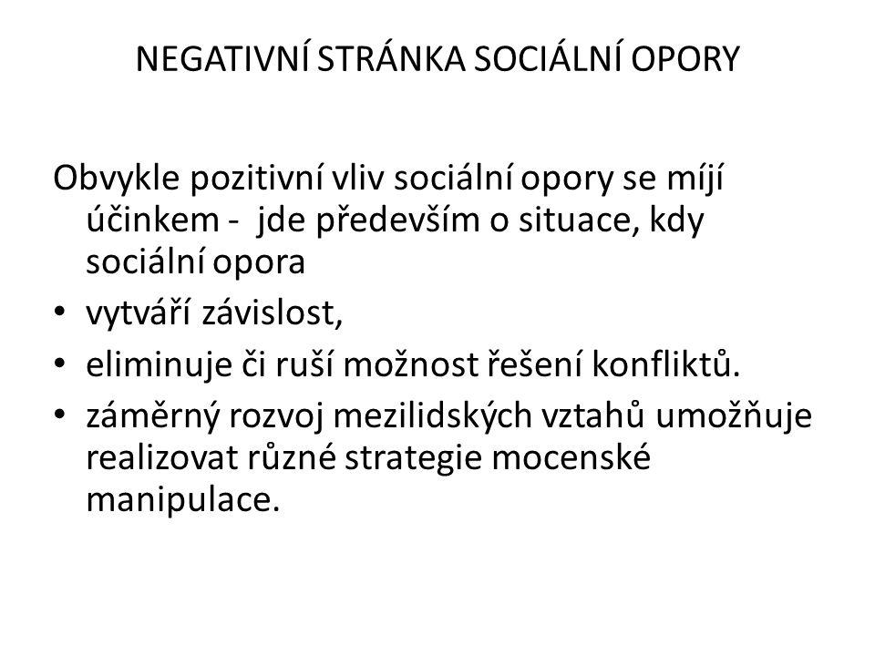 NEGATIVNÍ STRÁNKA SOCIÁLNÍ OPORY Obvykle pozitivní vliv sociální opory se míjí účinkem - jde především o situace, kdy sociální opora vytváří závislost