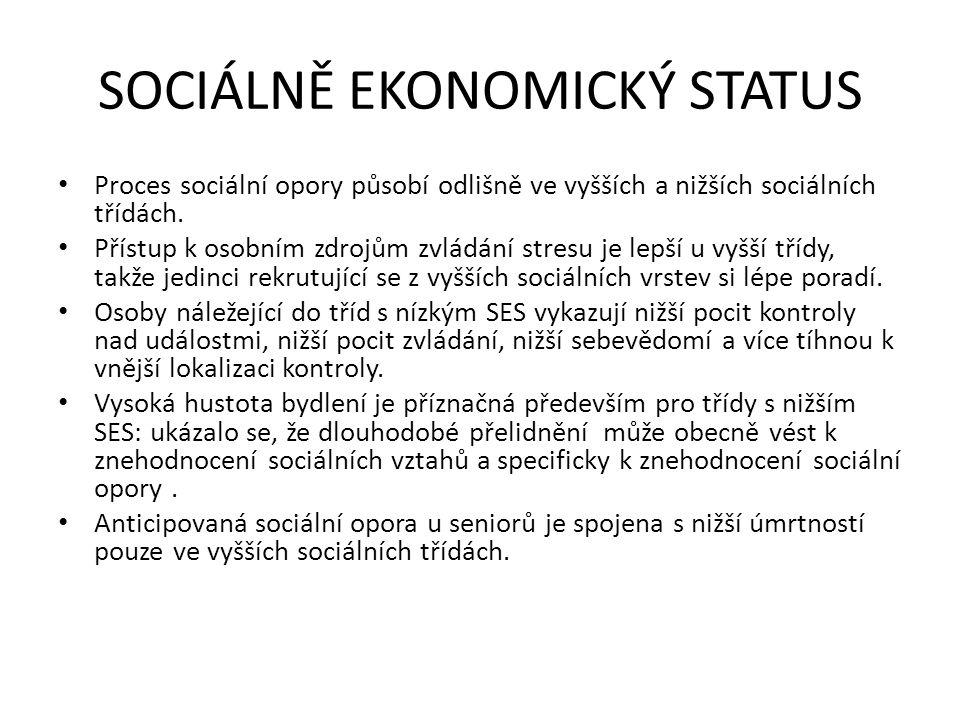 SOCIÁLNĚ EKONOMICKÝ STATUS Proces sociální opory působí odlišně ve vyšších a nižších sociálních třídách. Přístup k osobním zdrojům zvládání stresu je