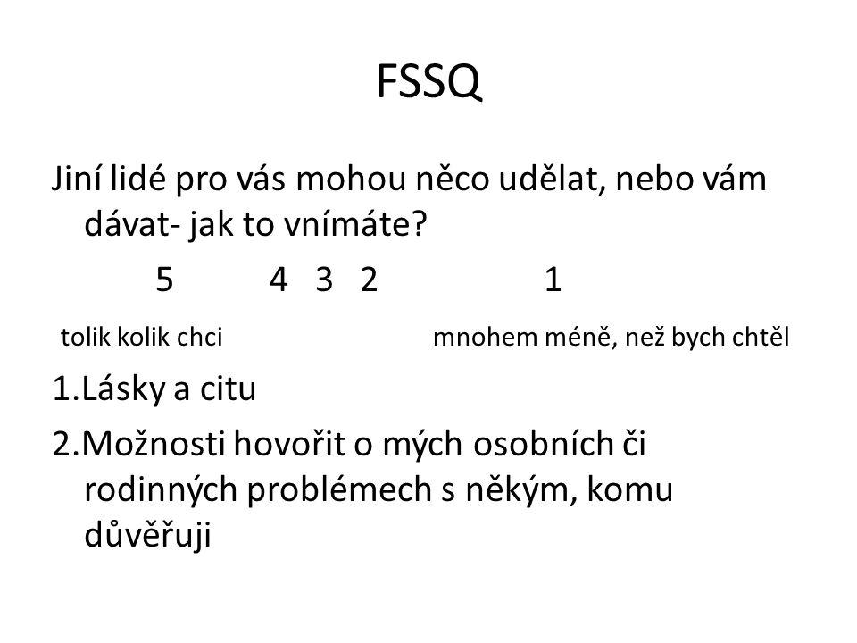 FSSQ Jiní lidé pro vás mohou něco udělat, nebo vám dávat- jak to vnímáte? 5 4 3 2 1 tolik kolik chci mnohem méně, než bych chtěl 1.Lásky a citu 2.Možn