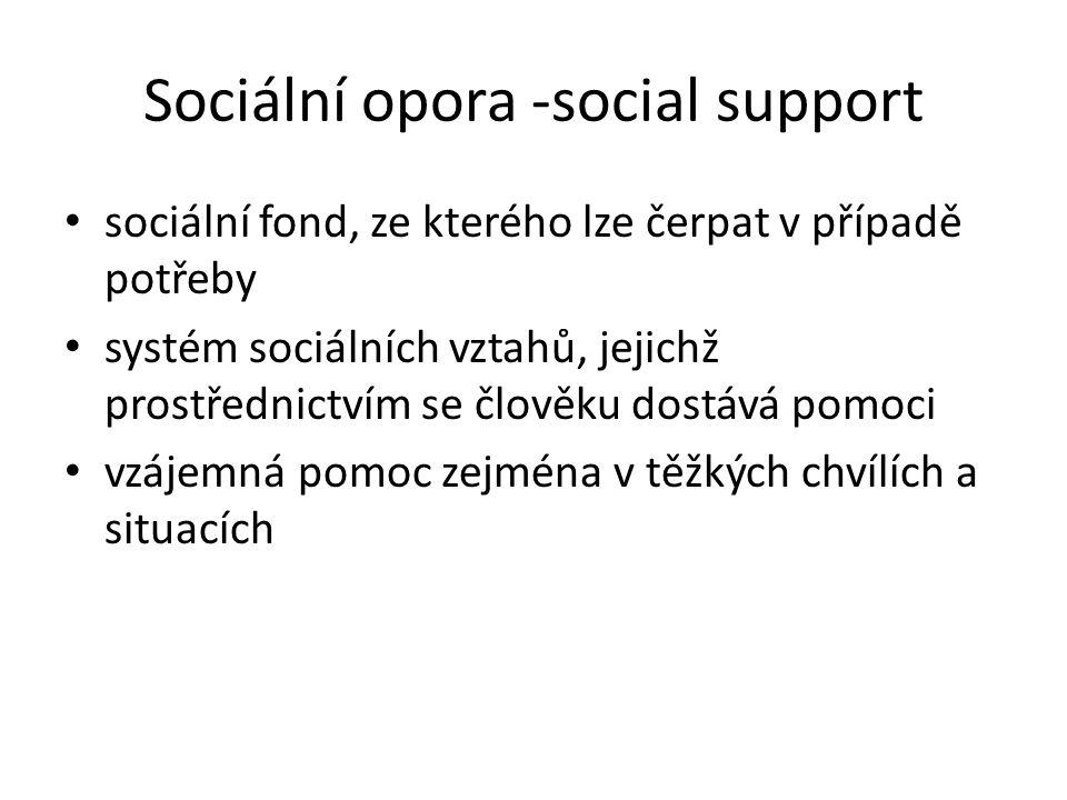 Sociální opora -social support sociální fond, ze kterého lze čerpat v případě potřeby systém sociálních vztahů, jejichž prostřednictvím se člověku dostává pomoci vzájemná pomoc zejména v těžkých chvílích a situacích