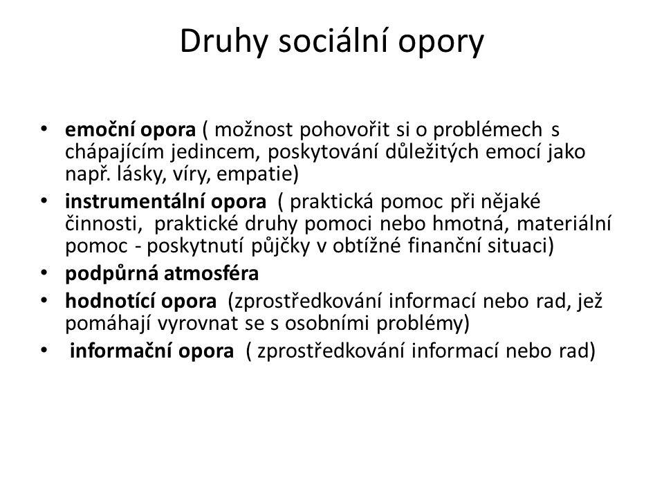 Druhy sociální opory emoční opora ( možnost pohovořit si o problémech s chápajícím jedincem, poskytování důležitých emocí jako např.