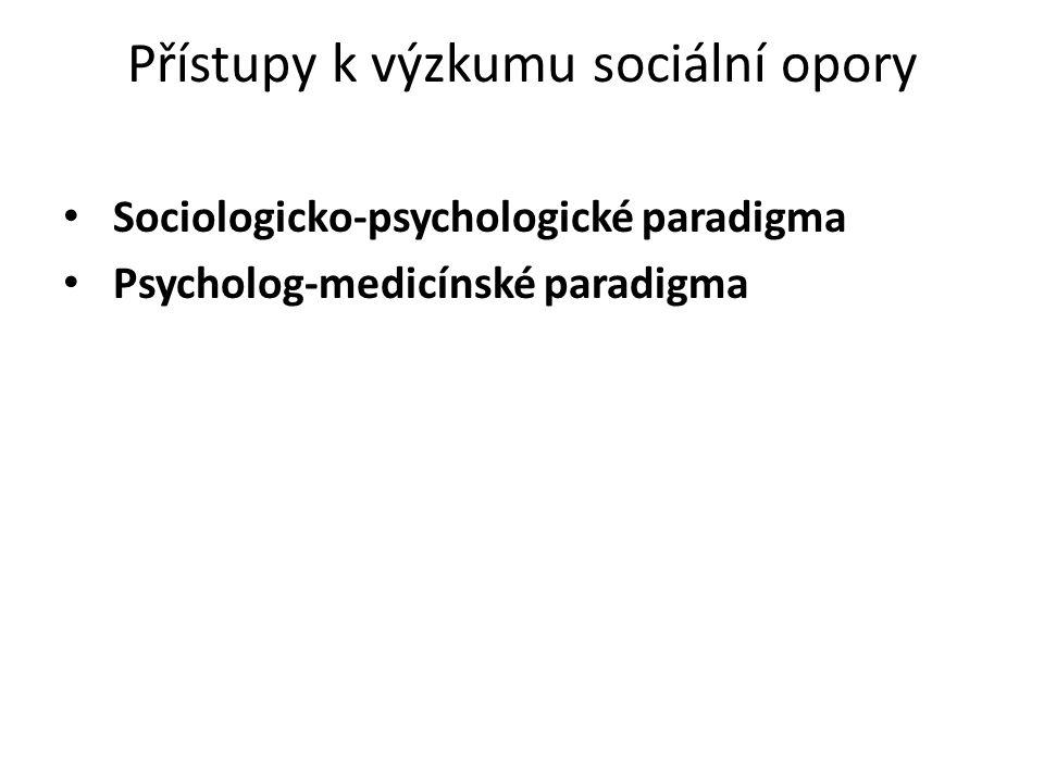 Přístupy k výzkumu sociální opory Sociologicko-psychologické paradigma Psycholog-medicínské paradigma