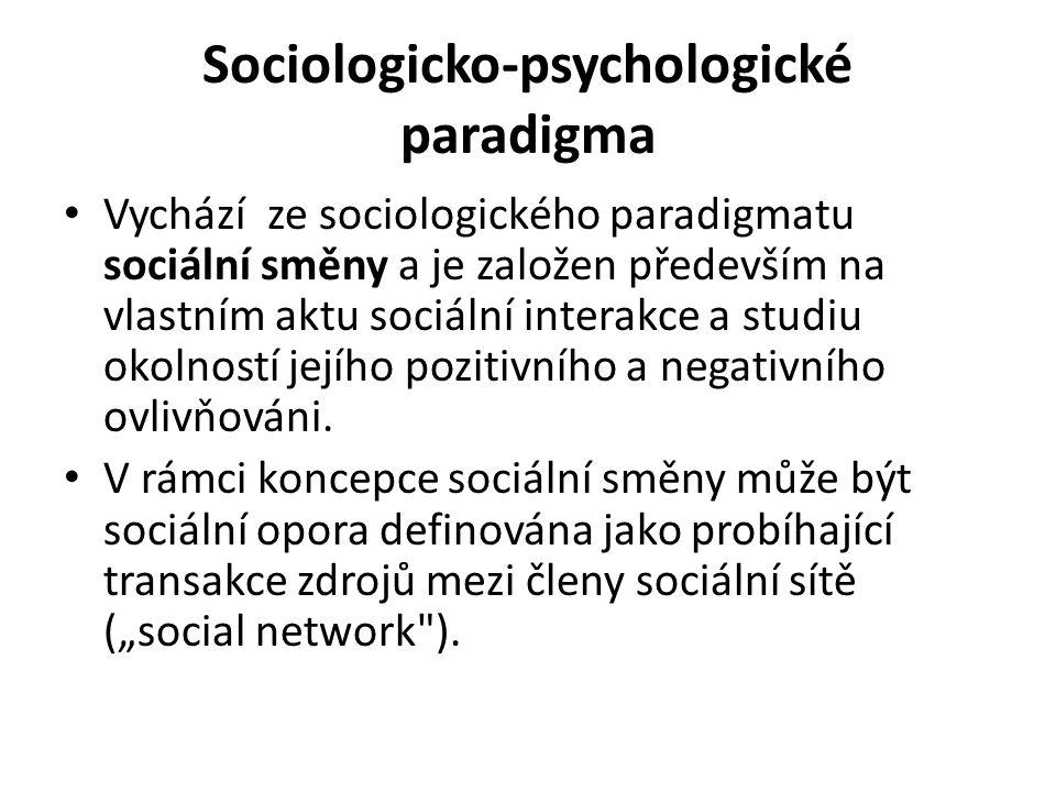 Sociologicko-psychologické paradigma Vychází ze sociologického paradigmatu sociální směny a je založen především na vlastním aktu sociální interakce a studiu okolností jejího pozitivního a negativního ovlivňováni.