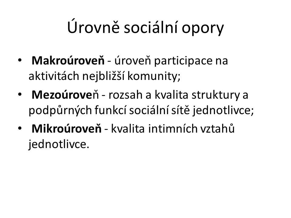 Úrovně sociální opory Makroúroveň - úroveň participace na aktivitách nejbližší komunity; Mezoúroveň - rozsah a kvalita struktury a podpůrných funkcí sociální sítě jednotlivce; Mikroúroveň - kvalita intimních vztahů jednotlivce.