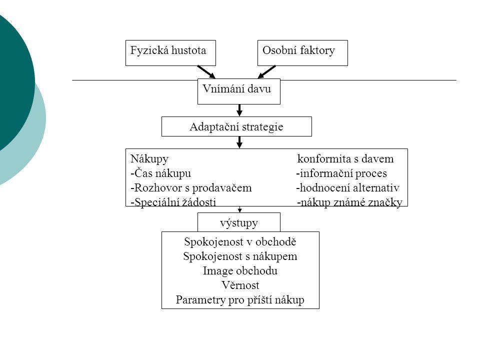 Fyzická hustotaOsobní faktory Vnímání davu Adaptační strategie Nákupy konformita s davem -Čas nákupu -informační proces -Rozhovor s prodavačem -hodnoc