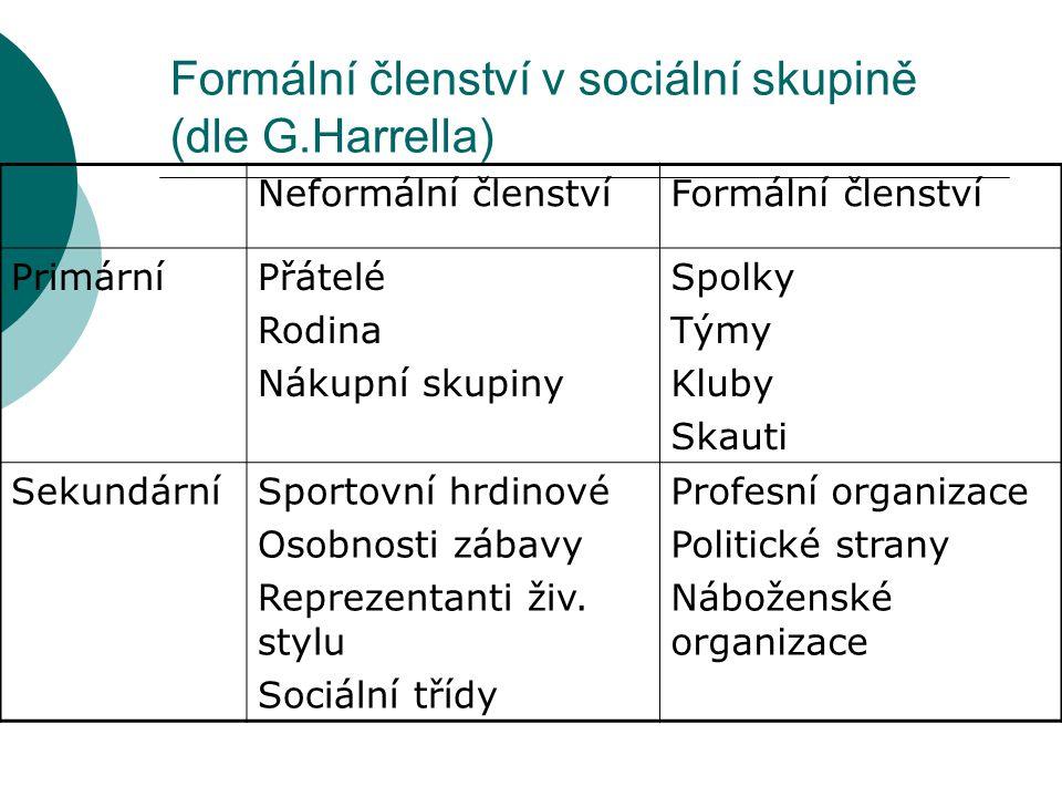 Formální členství v sociální skupině (dle G.Harrella) Neformální členstvíFormální členství PrimárníPřátelé Rodina Nákupní skupiny Spolky Týmy Kluby Sk