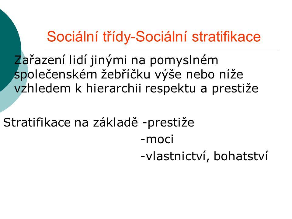 Sociální třídy-Sociální stratifikace  Zařazení lidí jinými na pomyslném společenském žebříčku výše nebo níže vzhledem k hierarchii respektu a prestiž