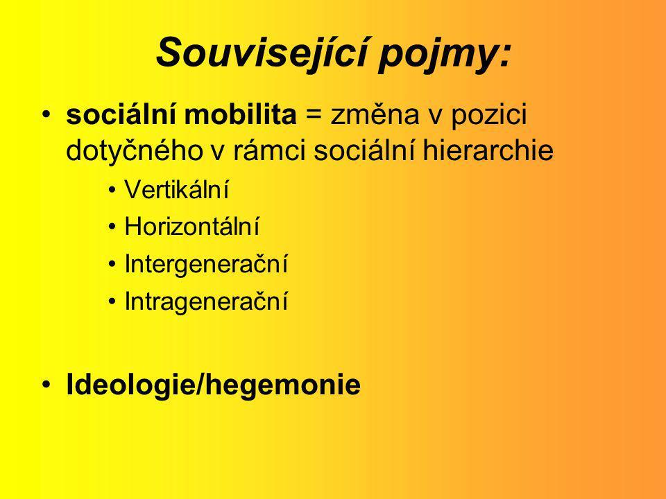 Související pojmy: sociální mobilita = změna v pozici dotyčného v rámci sociální hierarchie Vertikální Horizontální Intergenerační Intragenerační Ideo