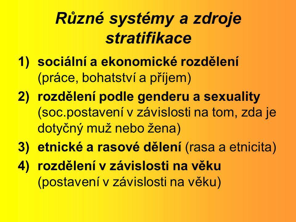 Různé systémy a zdroje stratifikace 1)sociální a ekonomické rozdělení (práce, bohatství a příjem) 2)rozdělení podle genderu a sexuality (soc.postavení