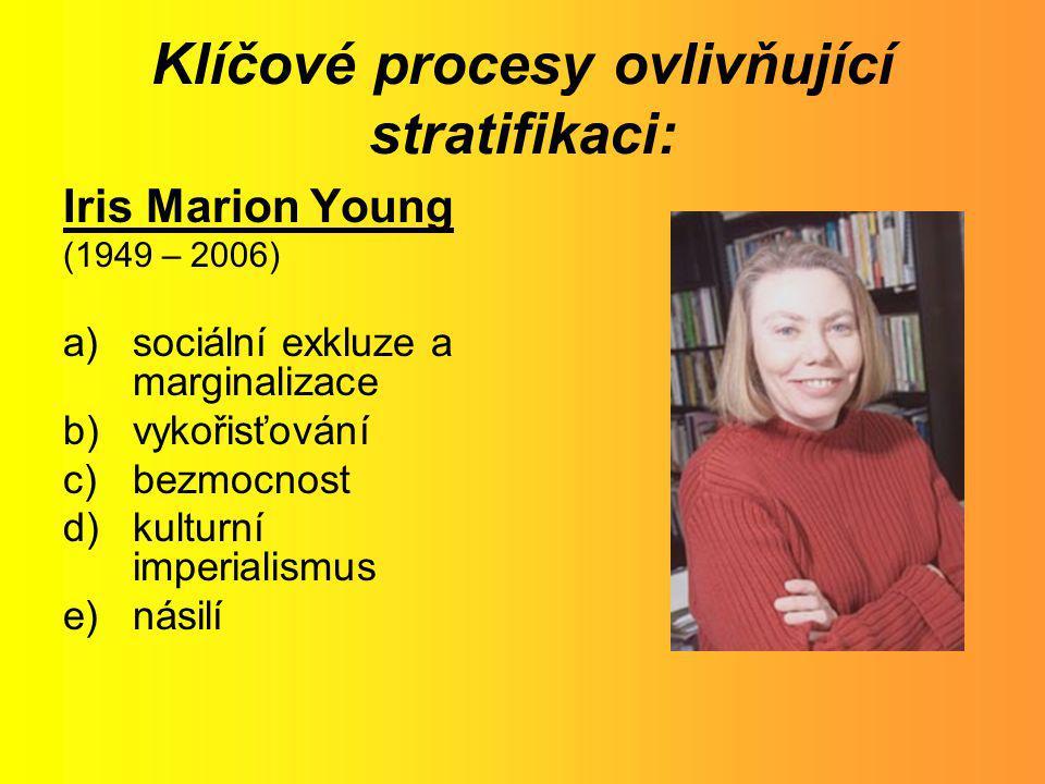 Klíčové procesy ovlivňující stratifikaci: Iris Marion Young (1949 – 2006) a)sociální exkluze a marginalizace b)vykořisťování c)bezmocnost d)kulturní i