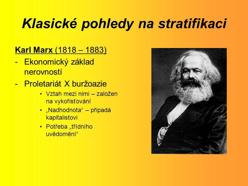 Klasické pohledy na stratifikaci Karl Marx (1818 – 1883) -Ekonomický základ nerovností -Proletariát X buržoazie Vztah mezi nimi – založen na vykořisťo