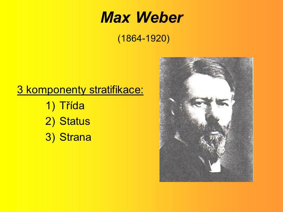 Max Weber (1864-1920) 3 komponenty stratifikace: 1)Třída 2)Status 3)Strana