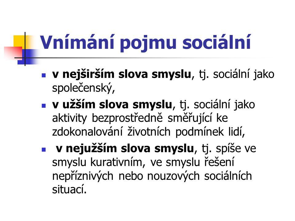 Vnímání pojmu sociální v nejširším slova smyslu, tj. sociální jako společenský, v užším slova smyslu, tj. sociální jako aktivity bezprostředně směřují