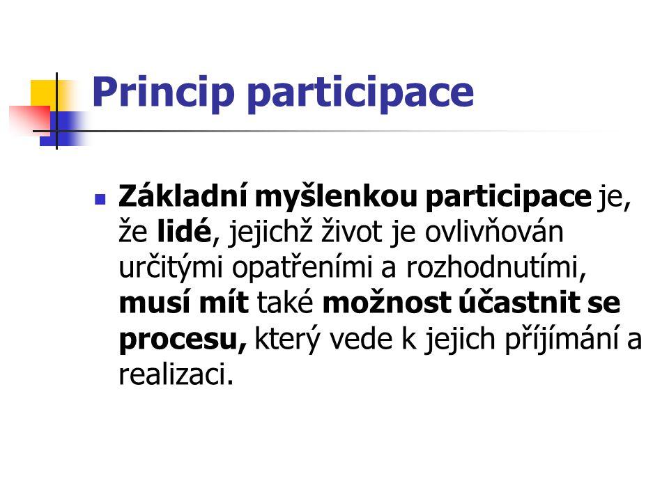 Princip participace Základní myšlenkou participace je, že lidé, jejichž život je ovlivňován určitými opatřeními a rozhodnutími, musí mít také možnost