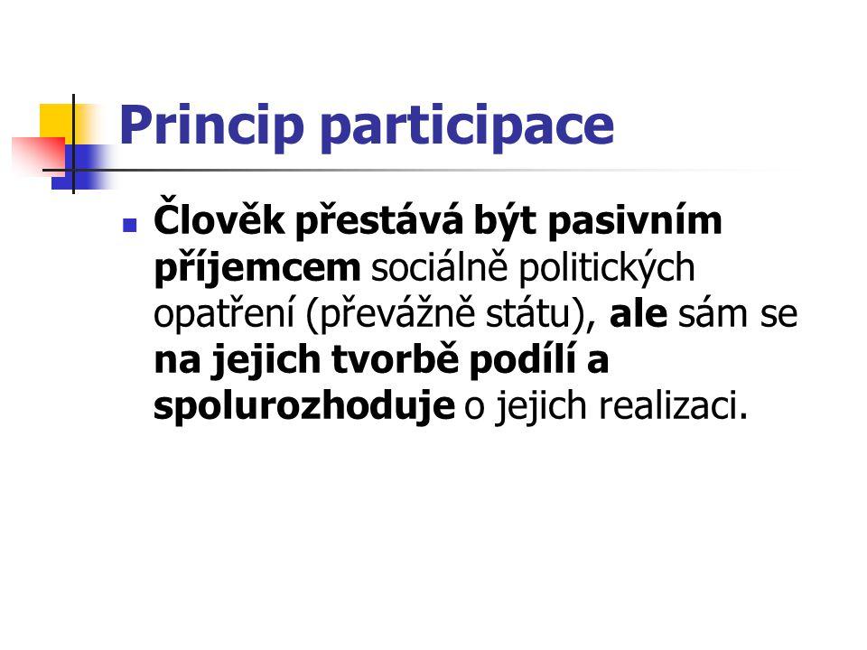 Princip participace Člověk přestává být pasivním příjemcem sociálně politických opatření (převážně státu), ale sám se na jejich tvorbě podílí a spolur