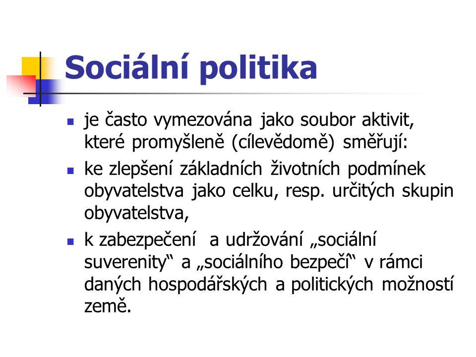 Sociální politika je často vymezována jako soubor aktivit, které promyšleně (cílevědomě) směřují: ke zlepšení základních životních podmínek obyvatelst
