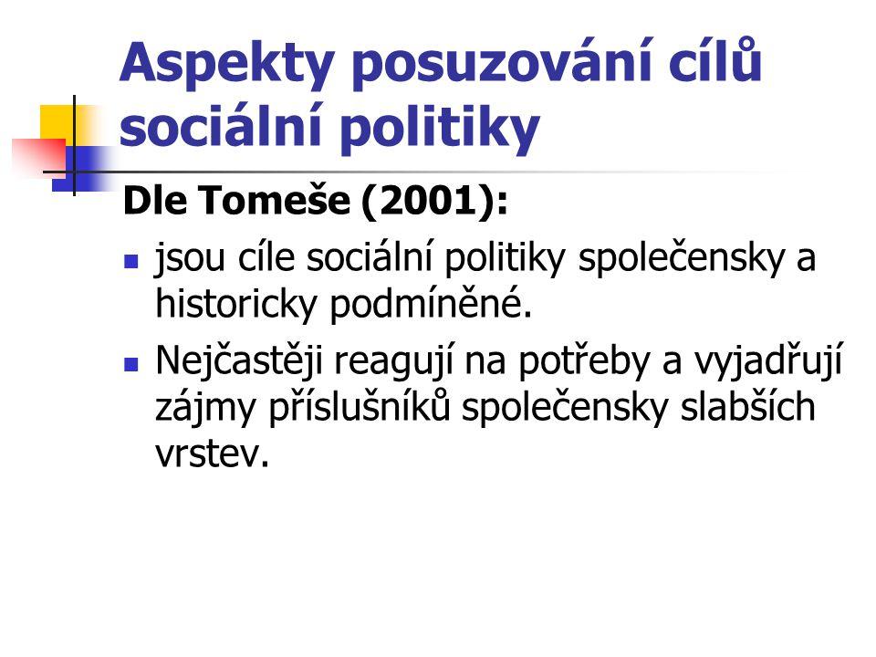 Aspekty posuzování cílů sociální politiky Dle Tomeše (2001): jsou cíle sociální politiky společensky a historicky podmíněné. Nejčastěji reagují na pot