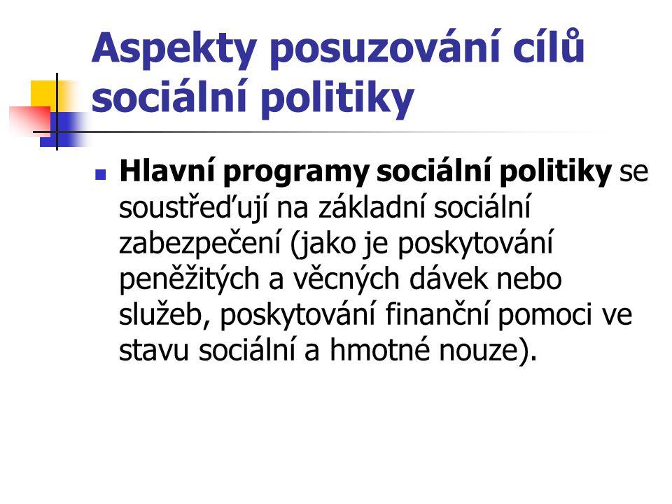 Aspekty posuzování cílů sociální politiky Hlavní programy sociální politiky se soustřeďují na základní sociální zabezpečení (jako je poskytování peněž