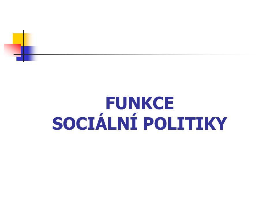 FUNKCE SOCIÁLNÍ POLITIKY