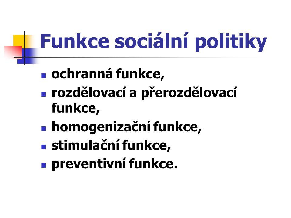 Funkce sociální politiky ochranná funkce, rozdělovací a přerozdělovací funkce, homogenizační funkce, stimulační funkce, preventivní funkce.