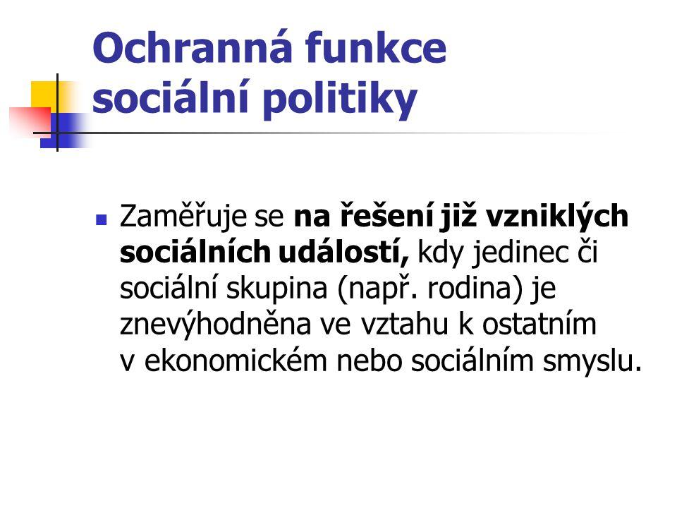Ochranná funkce sociální politiky Zaměřuje se na řešení již vzniklých sociálních událostí, kdy jedinec či sociální skupina (např. rodina) je znevýhodn