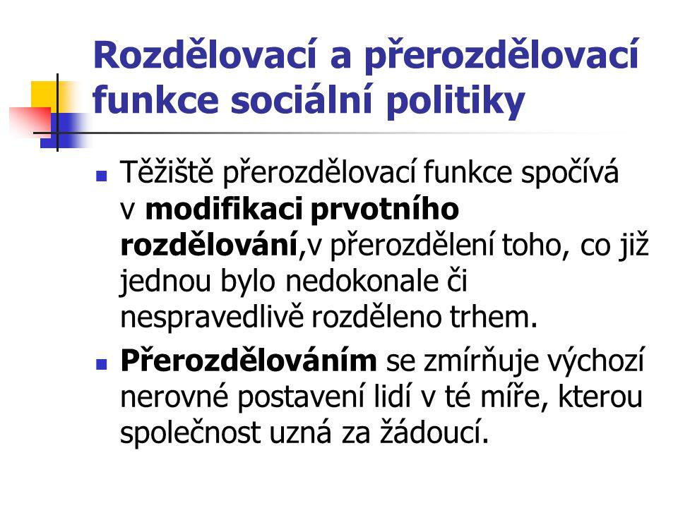 Rozdělovací a přerozdělovací funkce sociální politiky Těžiště přerozdělovací funkce spočívá v modifikaci prvotního rozdělování,v přerozdělení toho, co